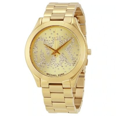Michael Kors MK3590 Slim Runway Crystal Gold-Tone Stainless Steel Womens Watch