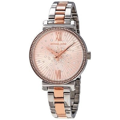 Sofie Quartz Crystal Rose Gold Dial Watch MK3972