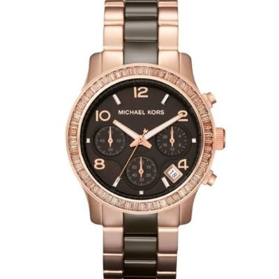 Michael Kors Women's Runway Brown & Rose Gold-Tone Stainless Steel Watch MK5678