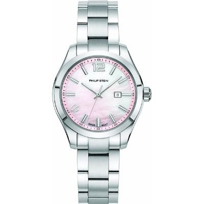 Philip Stein Women's Traveler Swiss-Quartz Watch with Stainless-Steel Strap, Silver 91-CPKMOP-SS