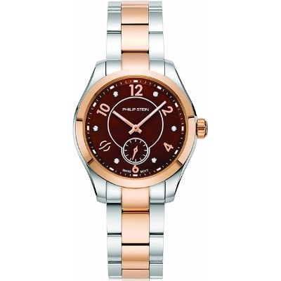 Philip Stein Women's Traveler Swiss-Quartz Watch with Two-Tone-Stainless-Steel Strap 91TRG-DCHMOP-SSTRG
