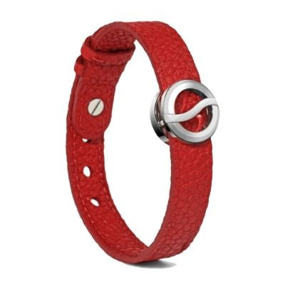 Philip Stein Horizon Bracelet-Large Steel Icon Bracelet Red Softy Leather 10L-BBSS-CRST