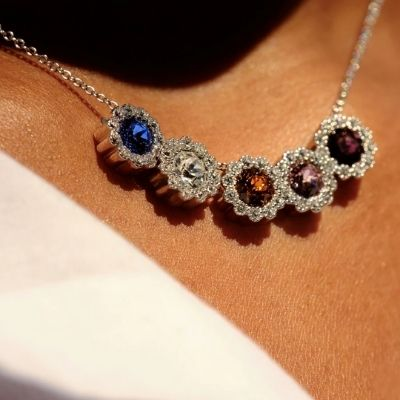 Sterling Silver Birthstone Necklace (with one charm)