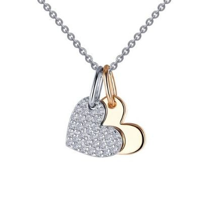 Lafonn Heart Shadow Two-tone Charm Pendant Necklace