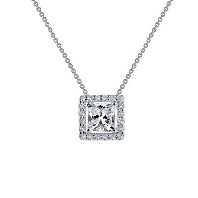 Lafonn Princess-Cut Halo Necklace