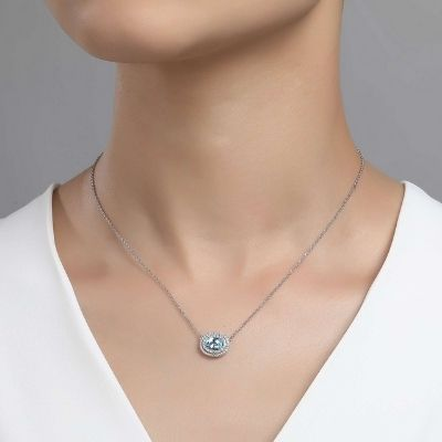 Lafonn Genuine Blue Topaz Halo Necklace
