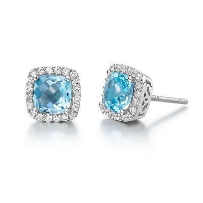 Lafonn Genuine Blue Topaz Halo Stud Earrings