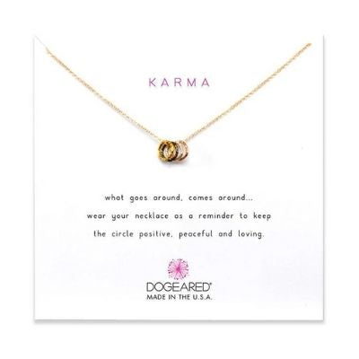 tiny sparkle ring karma necklace