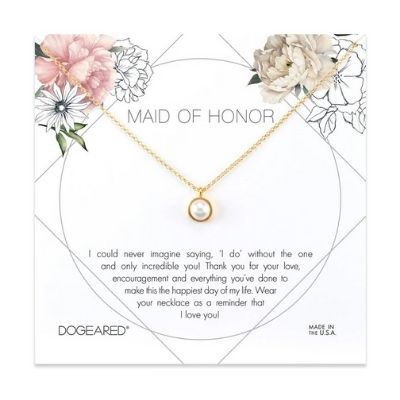 Maid of honor flower card, large bezel pearl