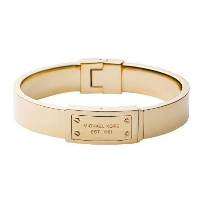 Michael Kors Gold Steel Logo-Plaque Bangle