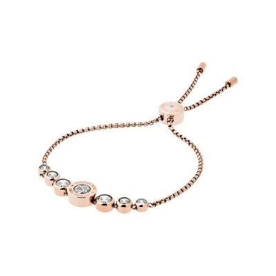 Michael Kors Rose Gold Clear CZ Crystal Slider Bracelet