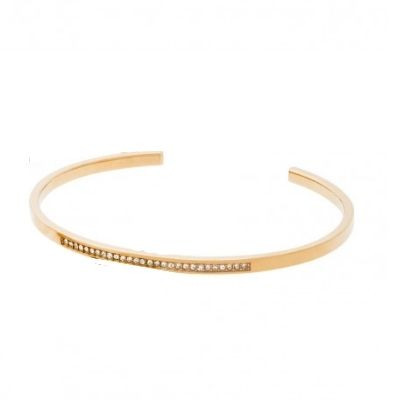 Michael Kors Gold-Tone Steel Slim Cuff Bracelet Clear CZ Crystal