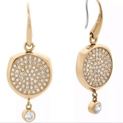Michael Kors Gold Disk Drop Earrings Pave Clear Crystal