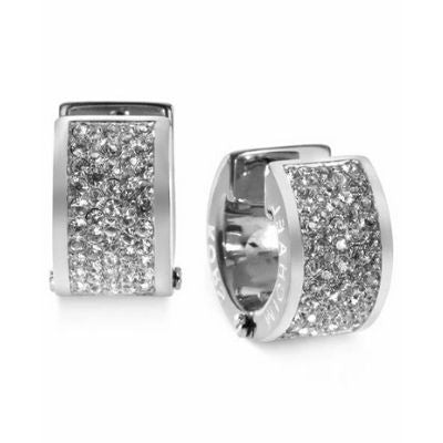 Michael Kors Silver-Tone Steel Pave Huggie Earrings