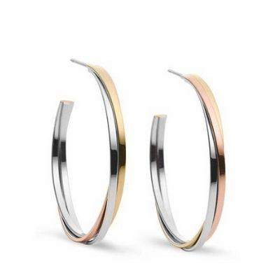 Michael Kors Tri-Tone Twisted Hoop Earrings