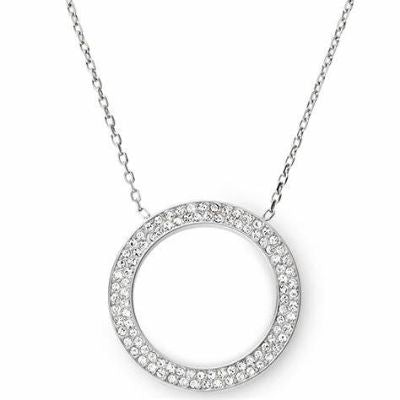 Michael Kors Silver Pave Open Circle Pendant Necklace