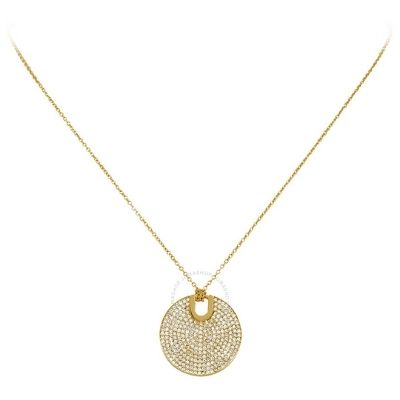 Michael Kors Gold-Tone Pave Round Pendant Necklace
