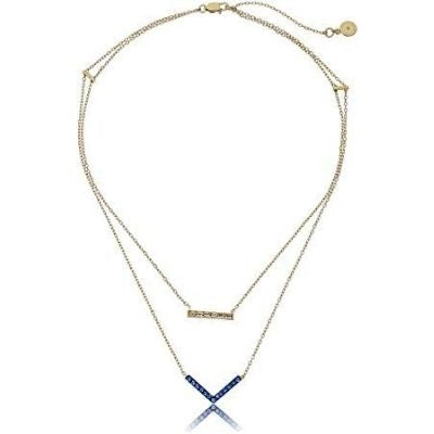 Michael Kors Clear & Royal Blue Parisian Jewels Gold-Tone Double Pendant