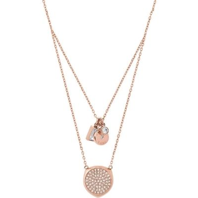 Michael Kors Double-Stranded Rose Gold Necklace Pave Clear Crystal Pendants