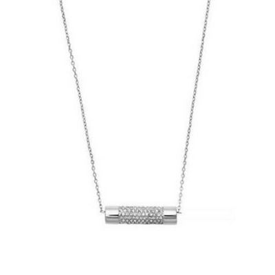 Michael Kors Silver Pave Cylinder Necklace