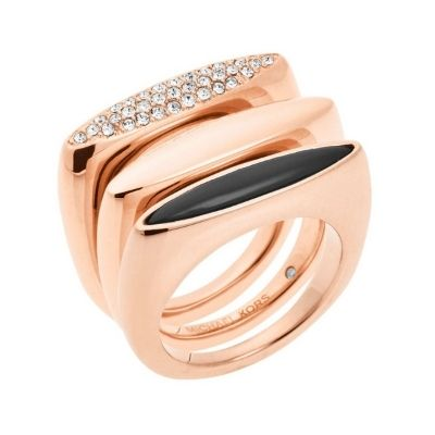 Michael Kors Stackable Rose Gold Ring Set (Size 7)