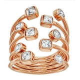 Michael Kors Modern Brilliance Crystal Pave Open Scatter Ring in Rose Gold (Size 7)