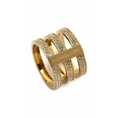 Michael Kors Gold Tone Steel Tri Stack Ring Clear Crystal Pave (Sizes 5.5, 6.5)
