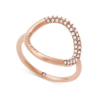 Michael Kors Rose Gold Steel Open Circle Crystal Pavé Ring (Size 7)