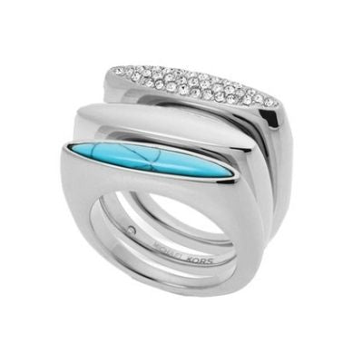 Michael Kors Silver Steel Tri-Stack of Rings with Clear Crystal Pave, Plain, and Turquoise (Size 7)