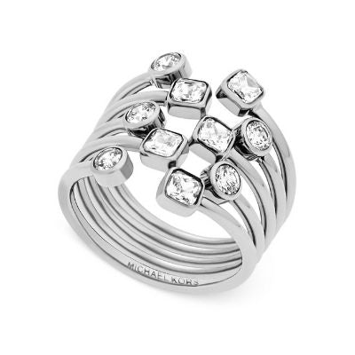 Michael Kors Modern Brilliance Open Scatter Clear Crystal CZ Silver Steel Ring (Size 7)