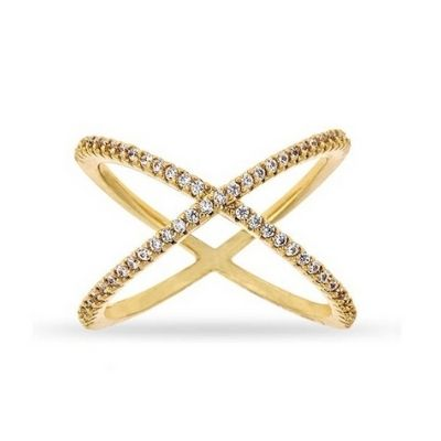 Michael Kors Gold Tone Steel Criss-Cross Clear Pave Crystal Ring