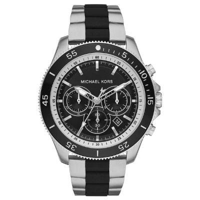 Michael Kors Men's Chronograph Steel Watch Silver with Matte Black Accents Two-Tone MK8664