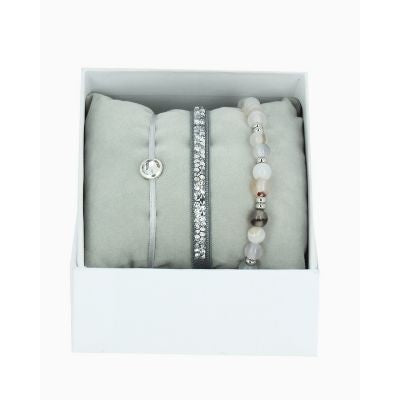 Les Interchangeables Gray & Silver Crystal Bracelet Stack (Gris 2)