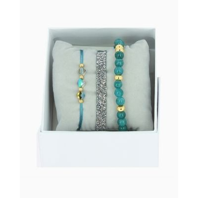 Les Interchangeables Seafoam/Teal and Gold-Tone Bracelet Stack (Blue Gris 2)