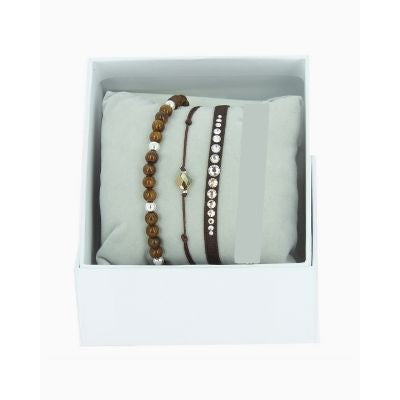 Les Interchangeables Chocolate and Clear CZ Crystal Bracelet Stack (Marron)