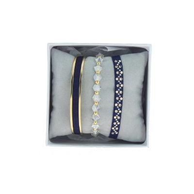Les Interchangeables Navy Blue Marine Stack CZ Crystals Gold-Tone (Marine)