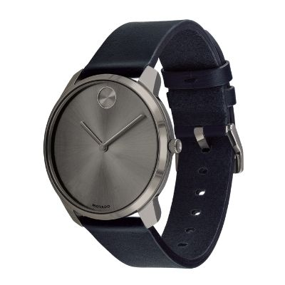 Movado BOLD Thin Men's Watch Dark Blue Leather 3600586