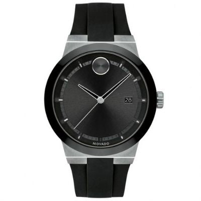 Men's Movado BOLD Fusion Stainless Steel and Black Silicone Strap Watch 3600624