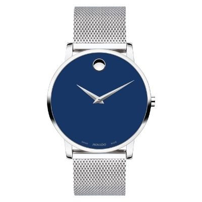 Men's Movado Museum Classic Blue Dial Mesh Stainless Steel Watch 0607349