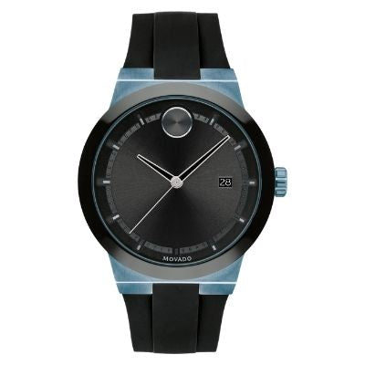 Men's Movado BOLD Fusion Ice Blue-Ion plated Stainless Steel Silicone Black Strap Watch 3600626