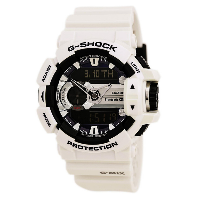 Casio G-Shock G'Mix Digital Analog Dial White Resin Quartz Men's Watch GBA400-7C