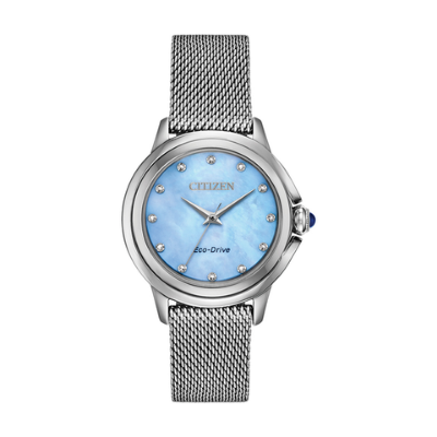 Taking the CITIZEN ladies collections to a new level with a contemporary jewelry inspired timepiece featuring a subtle case construction highlighting the brand itself. A smooth design with the added accent of a blue spinel cabochon crown. Seen here in stainless steel with a mesh bracelet and light blue Mother-of-Pearl diamond decorated dial. Featuring our Eco-Drive technology – powered by light, any light. Never needs a battery. Caliber number E031.