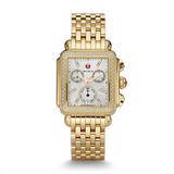 Michele Womens Gold Tone Deco With Diamond Bezel Watch