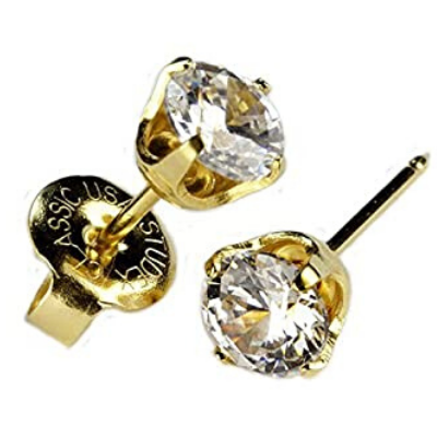 14KT CZ Stud Earrings