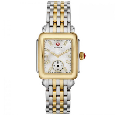 Michele Mid-Size Deco Two Tone Diamond Dial Watch