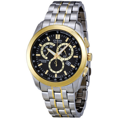 Stainless steel case with a stainless steel bracelet with gold-tone accents. Fixed gold-tone bezel. Black dial with luminous hands and index hour markers. Minute markers. Tachymeter scale appears around the outer rim. Dial Type: analog. Luminescent hands and markers. Date display appears at the 4 o'clock position. Chronograph - three sub-dials displaying: 24 hours, 30 minutes and 60 seconds. Eco-drive movement. Scratch resistant mineral crystal. Sport crown. Screw-back case back. Case diameter: 42 mm. Case