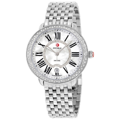 Michele Serein Swiss Quartz Stainless Steel Women's Diamond Bezel Watch
