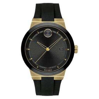 Men's Movado BOLD Fusion Pale Gold-Ion Plated Stainless Steel Silicone Black Strap Watch 3600623