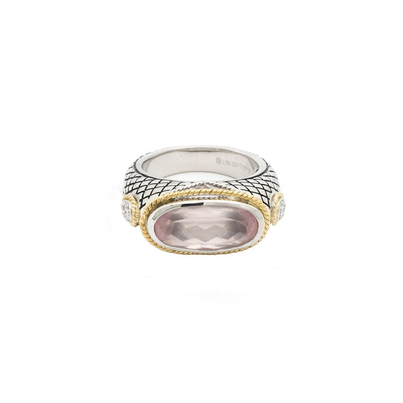 Andrea Candela 18kt and Sterling Silver Rose Quartz Ring
