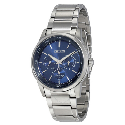 Clean lines, instantly convey a look destined to become a classic, featured in these handsome new men's CITIZEN® Eco-Drive Dress watches, available in both strap and bracelet versions. A stainless steel case and bracelet with blue dial complimented by 12/24-hour time and analog day/date features. Featuring our Eco-Drive technology – powered by light, any light. Never needs a battery. Caliber number 8729.